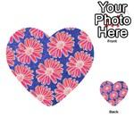 Pink Daisy Pattern Multi-purpose Cards (Heart)  Front 34