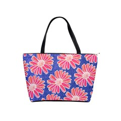 Pink Daisy Pattern Shoulder Handbags by DanaeStudio