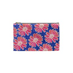 Pink Daisy Pattern Cosmetic Bag (small)  by DanaeStudio