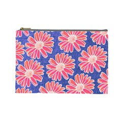 Pink Daisy Pattern Cosmetic Bag (large)  by DanaeStudio