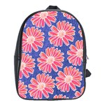 Pink Daisy Pattern School Bags(Large)  Front