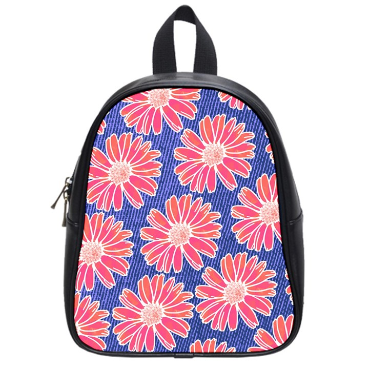 Pink Daisy Pattern School Bags (Small)