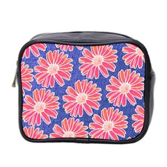 Pink Daisy Pattern Mini Toiletries Bag 2 Side by DanaeStudio