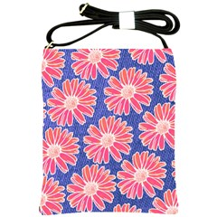 Pink Daisy Pattern Shoulder Sling Bags by DanaeStudio
