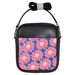 Pink Daisy Pattern Girls Sling Bags by DanaeStudio