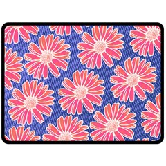 Pink Daisy Pattern Fleece Blanket (large)  by DanaeStudio