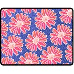 Pink Daisy Pattern Fleece Blanket (Medium)  60 x50 Blanket Front