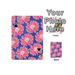 Pink Daisy Pattern Playing Cards 54 (Mini)  Front - Spade4