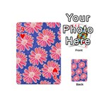 Pink Daisy Pattern Playing Cards 54 (Mini)  Front - Heart9
