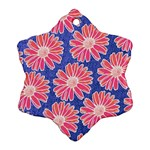 Pink Daisy Pattern Ornament (Snowflake)  Front