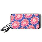 Pink Daisy Pattern Portable Speaker (Black)  Front