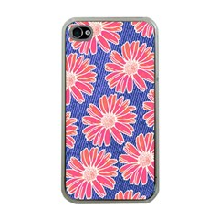 Pink Daisy Pattern Apple Iphone 4 Case (clear) by DanaeStudio