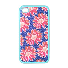 Pink Daisy Pattern Apple Iphone 4 Case (color) by DanaeStudio