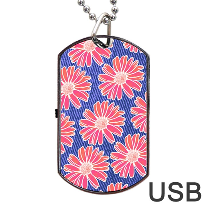 Pink Daisy Pattern Dog Tag USB Flash (Two Sides)