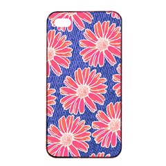 Pink Daisy Pattern Apple Iphone 4/4s Seamless Case (black) by DanaeStudio