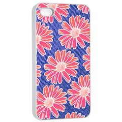 Pink Daisy Pattern Apple Iphone 4/4s Seamless Case (white) by DanaeStudio