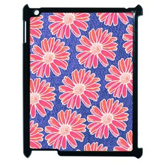 Pink Daisy Pattern Apple Ipad 2 Case (black) by DanaeStudio