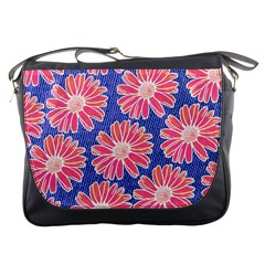 Pink Daisy Pattern Messenger Bags by DanaeStudio