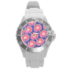 Pink Daisy Pattern Round Plastic Sport Watch (l) by DanaeStudio