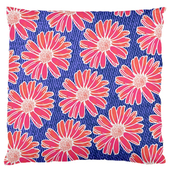 Pink Daisy Pattern Large Cushion Case (One Side)