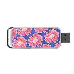 Pink Daisy Pattern Portable USB Flash (One Side)