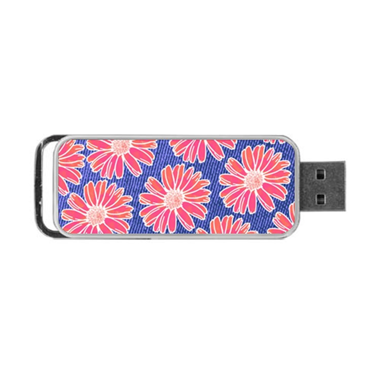 Pink Daisy Pattern Portable USB Flash (Two Sides)
