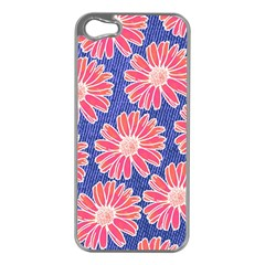 Pink Daisy Pattern Apple Iphone 5 Case (silver) by DanaeStudio