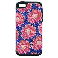 Pink Daisy Pattern Apple Iphone 5 Hardshell Case (pc+silicone) by DanaeStudio