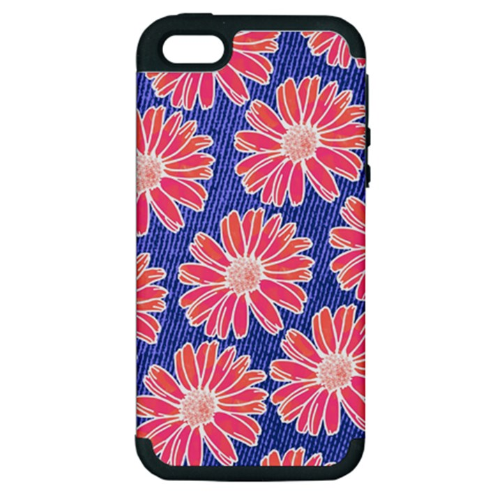Pink Daisy Pattern Apple iPhone 5 Hardshell Case (PC+Silicone)