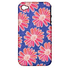 Pink Daisy Pattern Apple Iphone 4/4s Hardshell Case (pc+silicone) by DanaeStudio
