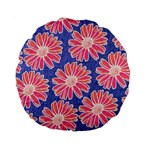 Pink Daisy Pattern Standard 15  Premium Round Cushions Front