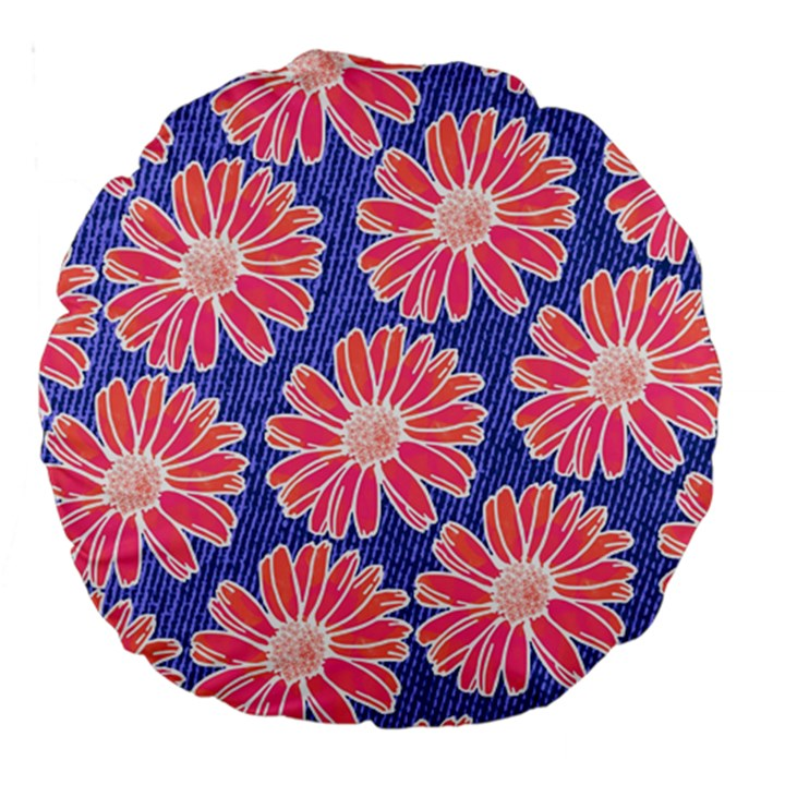 Pink Daisy Pattern Large 18  Premium Round Cushions