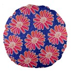 Pink Daisy Pattern Large 18  Premium Round Cushions Back