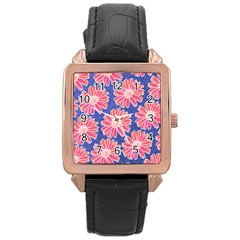 Pink Daisy Pattern Rose Gold Leather Watch  by DanaeStudio