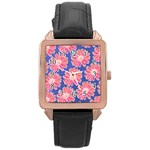 Pink Daisy Pattern Rose Gold Leather Watch