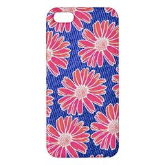 Pink Daisy Pattern Apple Iphone 5 Premium Hardshell Case by DanaeStudio