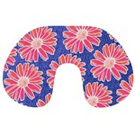 Pink Daisy Pattern Travel Neck Pillows Front