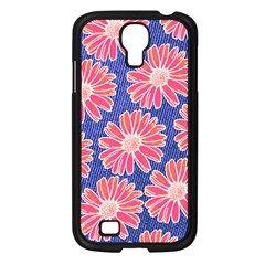 Pink Daisy Pattern Samsung Galaxy S4 I9500/ I9505 Case (black) by DanaeStudio