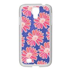 Pink Daisy Pattern Samsung GALAXY S4 I9500/ I9505 Case (White)
