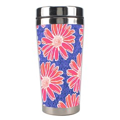 Pink Daisy Pattern Stainless Steel Travel Tumblers by DanaeStudio