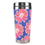 Pink Daisy Pattern Stainless Steel Travel Tumblers