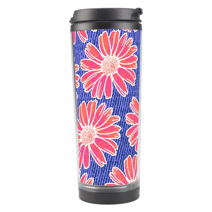 Pink Daisy Pattern Travel Tumbler