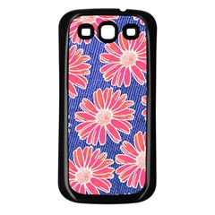 Pink Daisy Pattern Samsung Galaxy S3 Back Case (black) by DanaeStudio