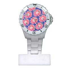 Pink Daisy Pattern Plastic Nurses Watch by DanaeStudio
