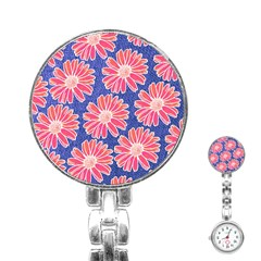 Pink Daisy Pattern Stainless Steel Nurses Watch by DanaeStudio