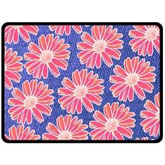 Pink Daisy Pattern Double Sided Fleece Blanket (large)  by DanaeStudio