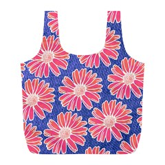 Pink Daisy Pattern Full Print Recycle Bags (l)  by DanaeStudio