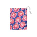Pink Daisy Pattern Drawstring Pouches (Small)