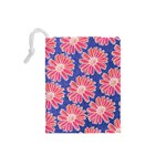 Pink Daisy Pattern Drawstring Pouches (Small)  Back