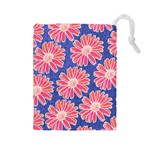 Pink Daisy Pattern Drawstring Pouches (Large)